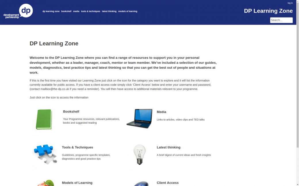 The DP Learning Zone website homepage