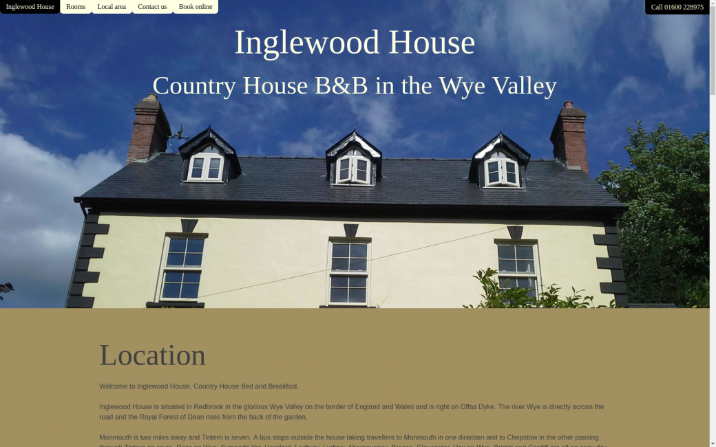 Inglewood House website homepage
