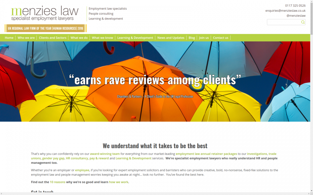 Menzies Law website homepage