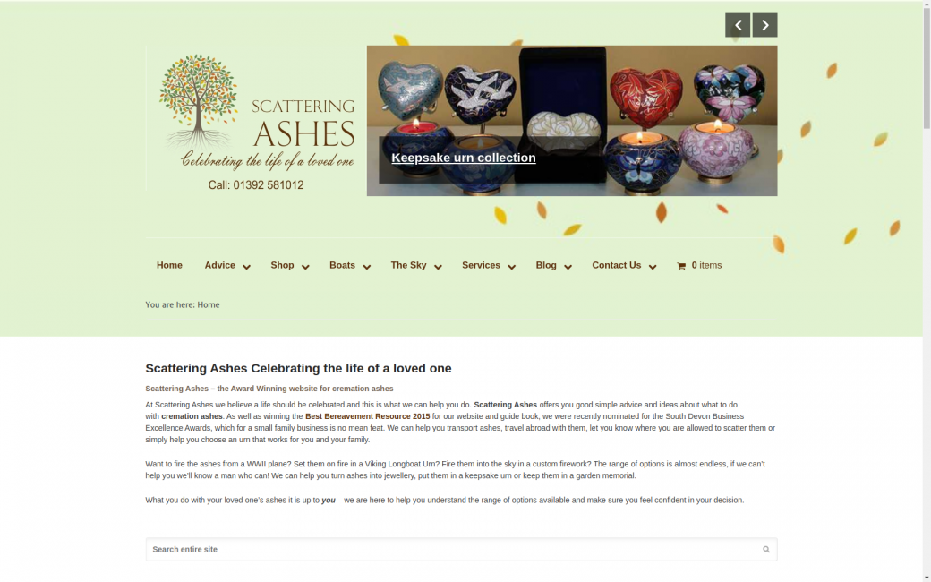 Scattering Ashes website homepage