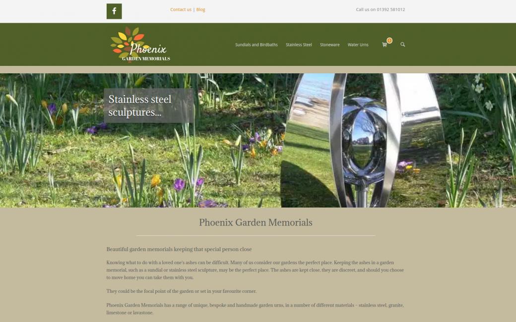 Phoenix Garden Memorials home page screenshot